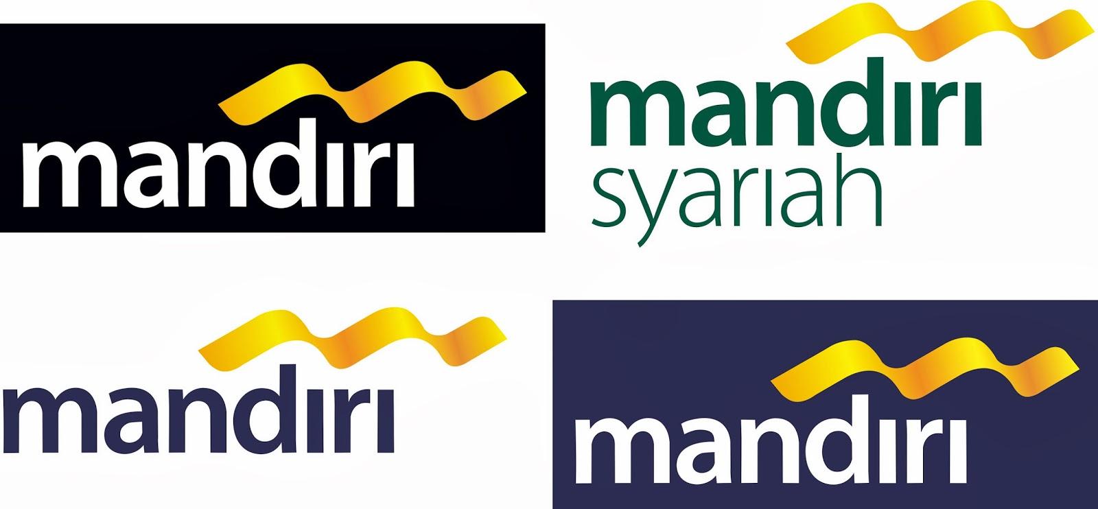 logo bank mandiri banckground biru berikut tampilan keempat logo