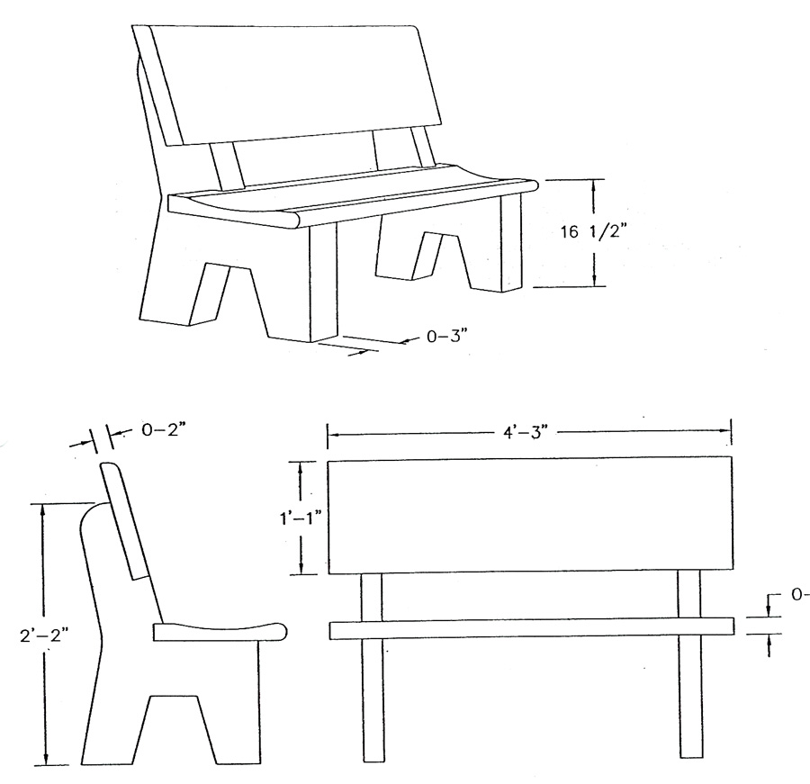 Garden Bench Dimensions on gun cabinet diagram