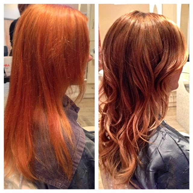 Ombre hair blonde color done to lighen hair style.