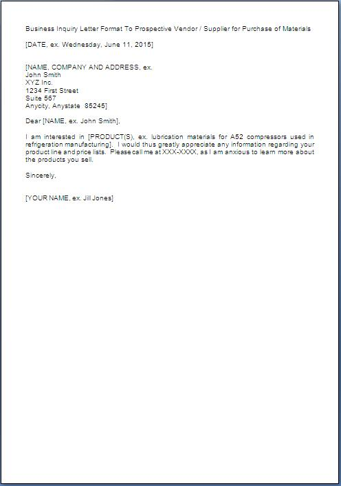 inquiry letter sample for a product