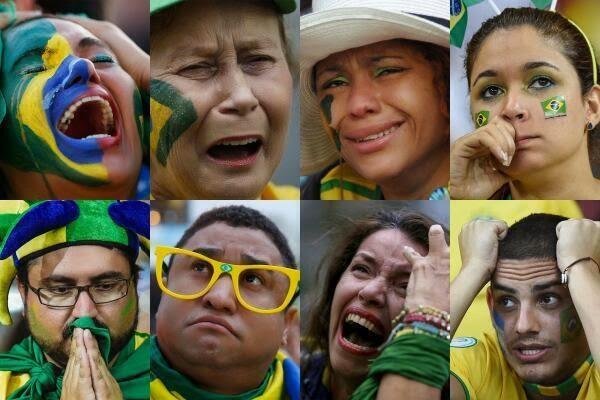 بكاء الجماهير البرازيلية بعد الهزيمة الكبيرة امام المانيا