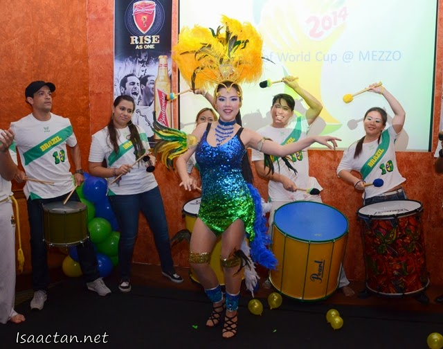 Samba dancers and capoeira performers added a splash of Brazil to the launch