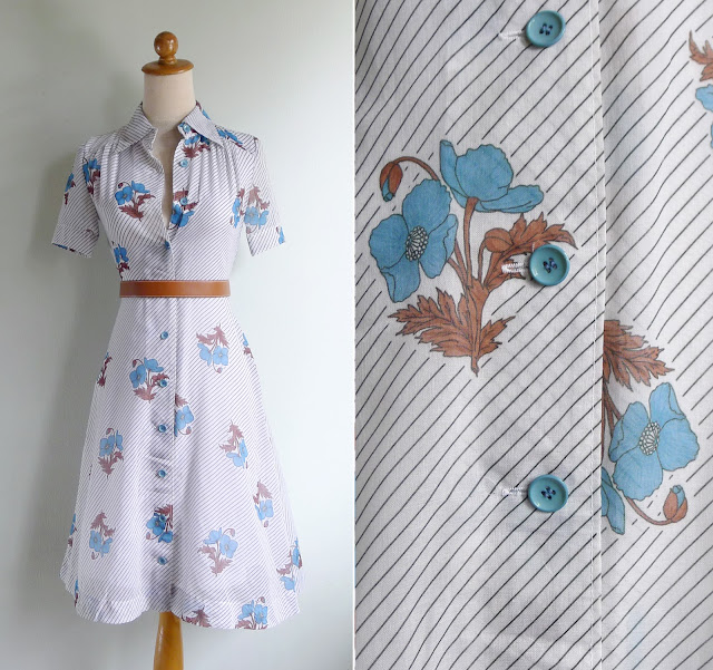 vintage 1970s retro cotton shirtwaist dress