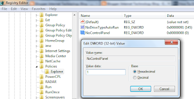 Enable Control Panel from Registry