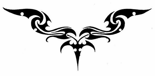 Lower back tattoo stencil