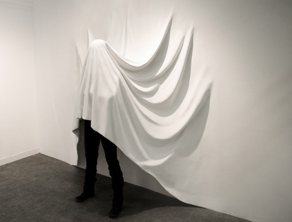 draped human body, draped installation, white installation, draped human, sheets installation, bedding installation, wall installation