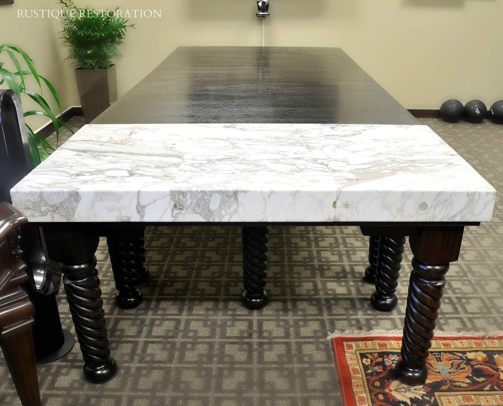 Rustique Restoration Historic Marble Desk and Custom Mahogany