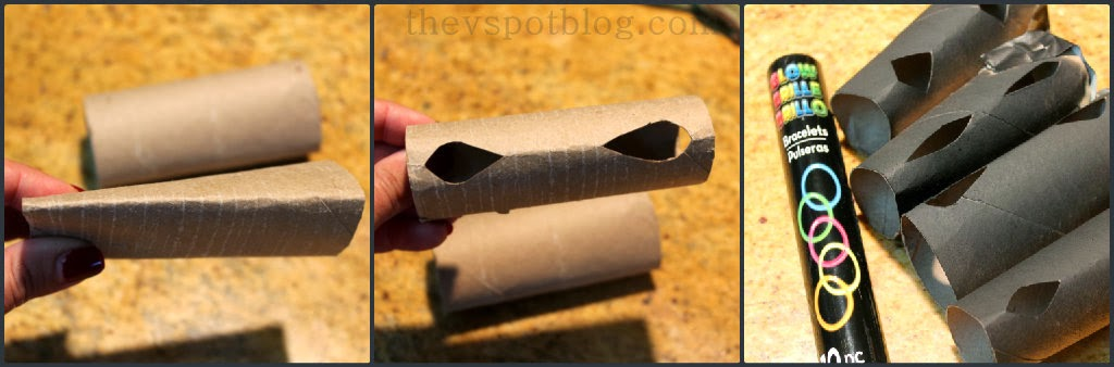 Creepy glowing eyes a 5 minute halloween decoration for Glow sticks in toilet paper rolls