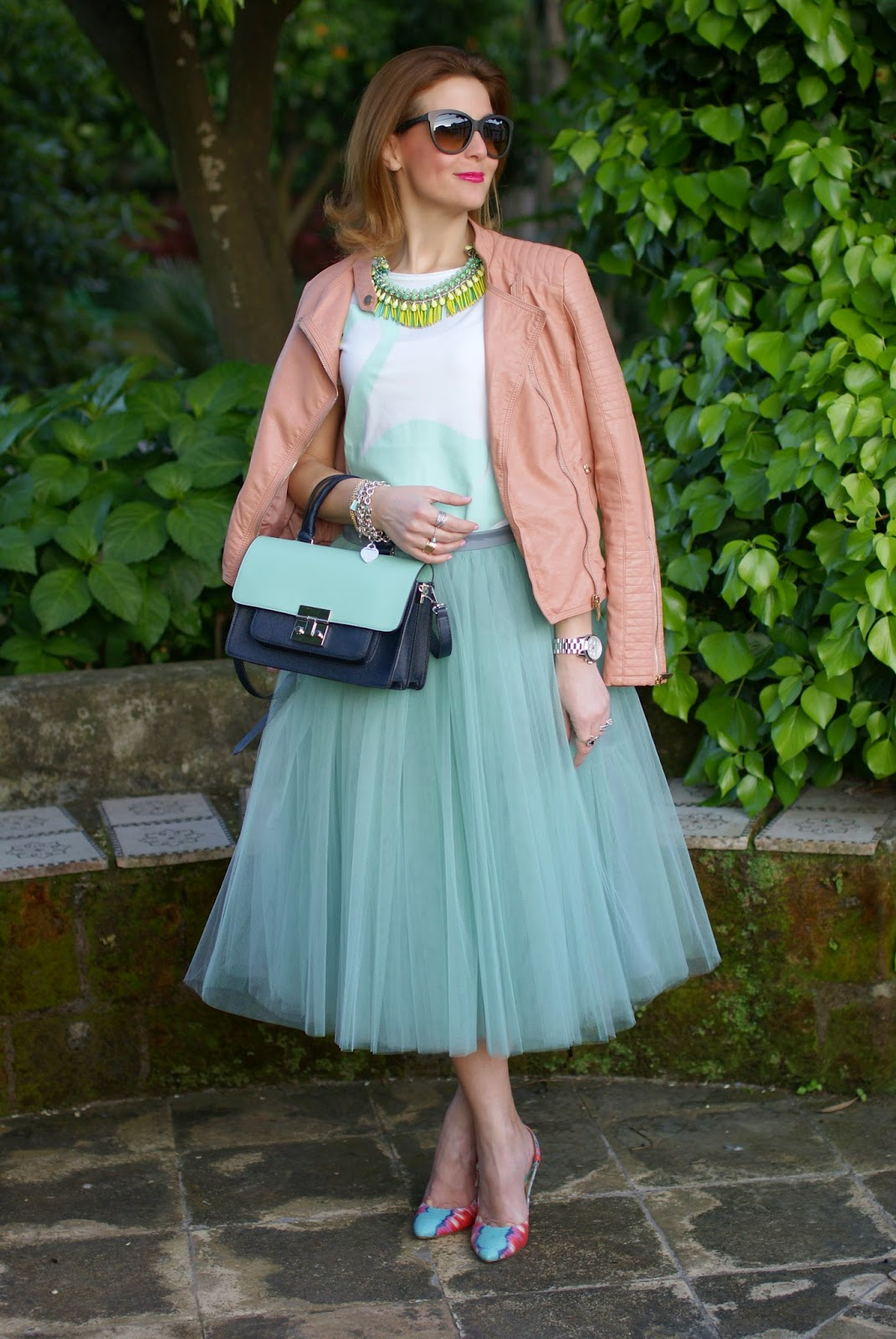 Outfits, tulle skirt, mint tulle skirt, Sodini bijoux, Rose a Pois, Fashion and Cookies, fashion blogger