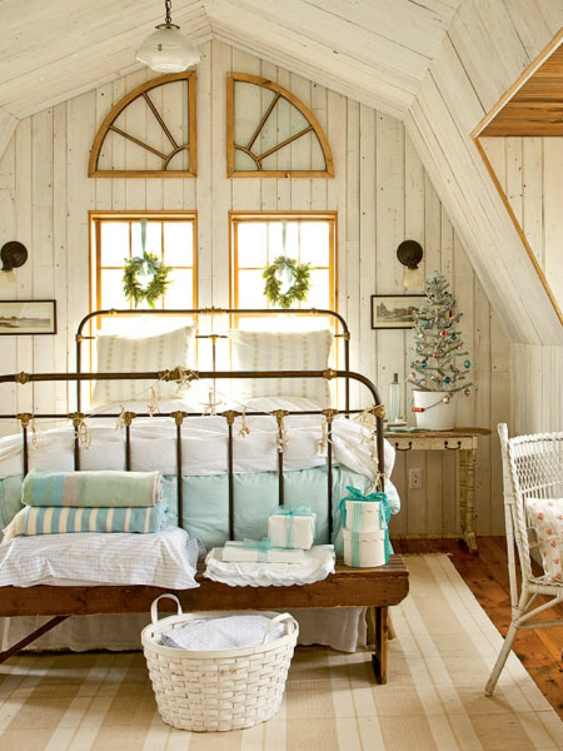 cottage, coastal loft bedroom