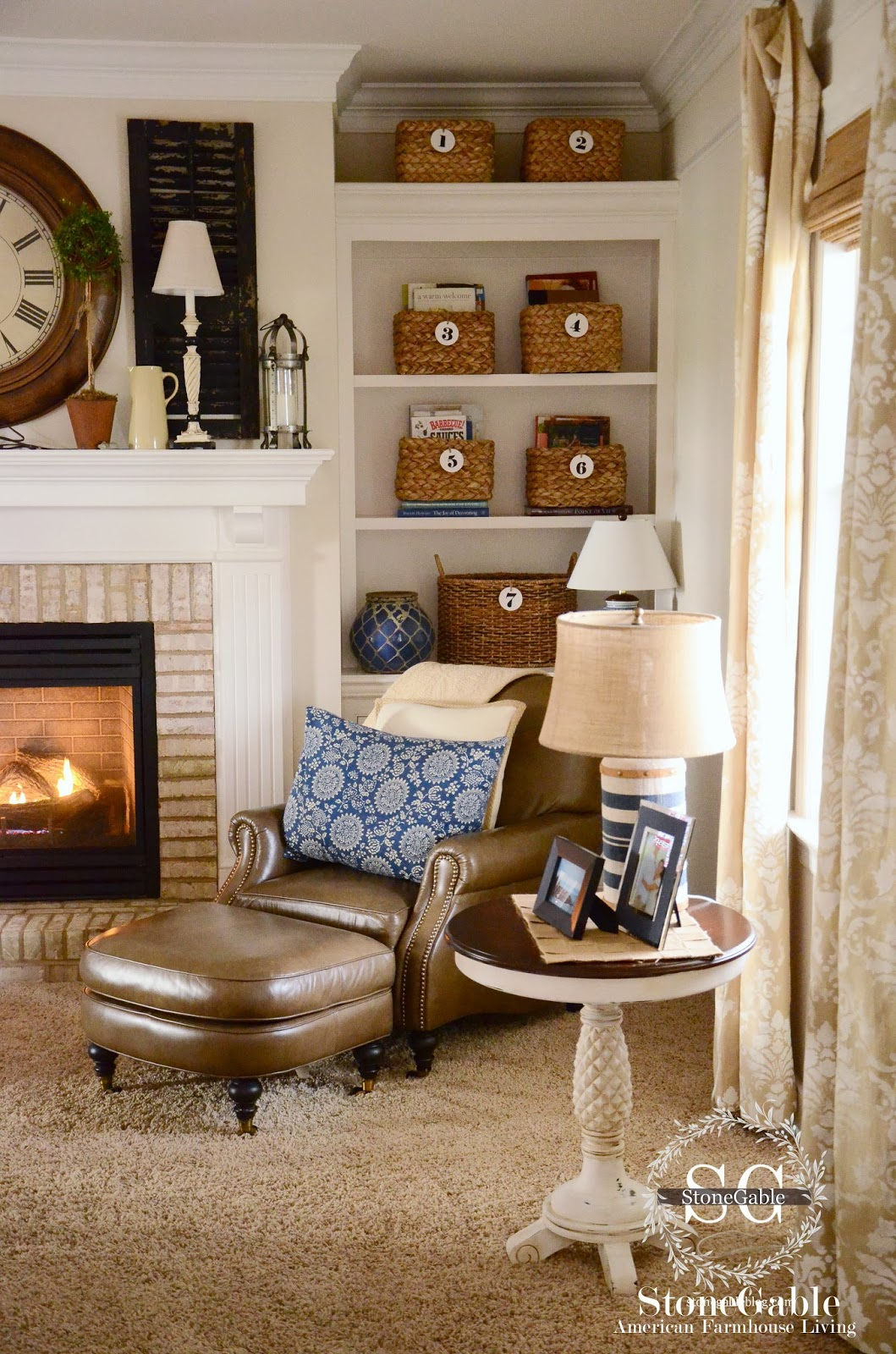 Bookshelves With Baskets Part - 15: Baskets+in+Bookshelves-stonegableblog.com.jpg