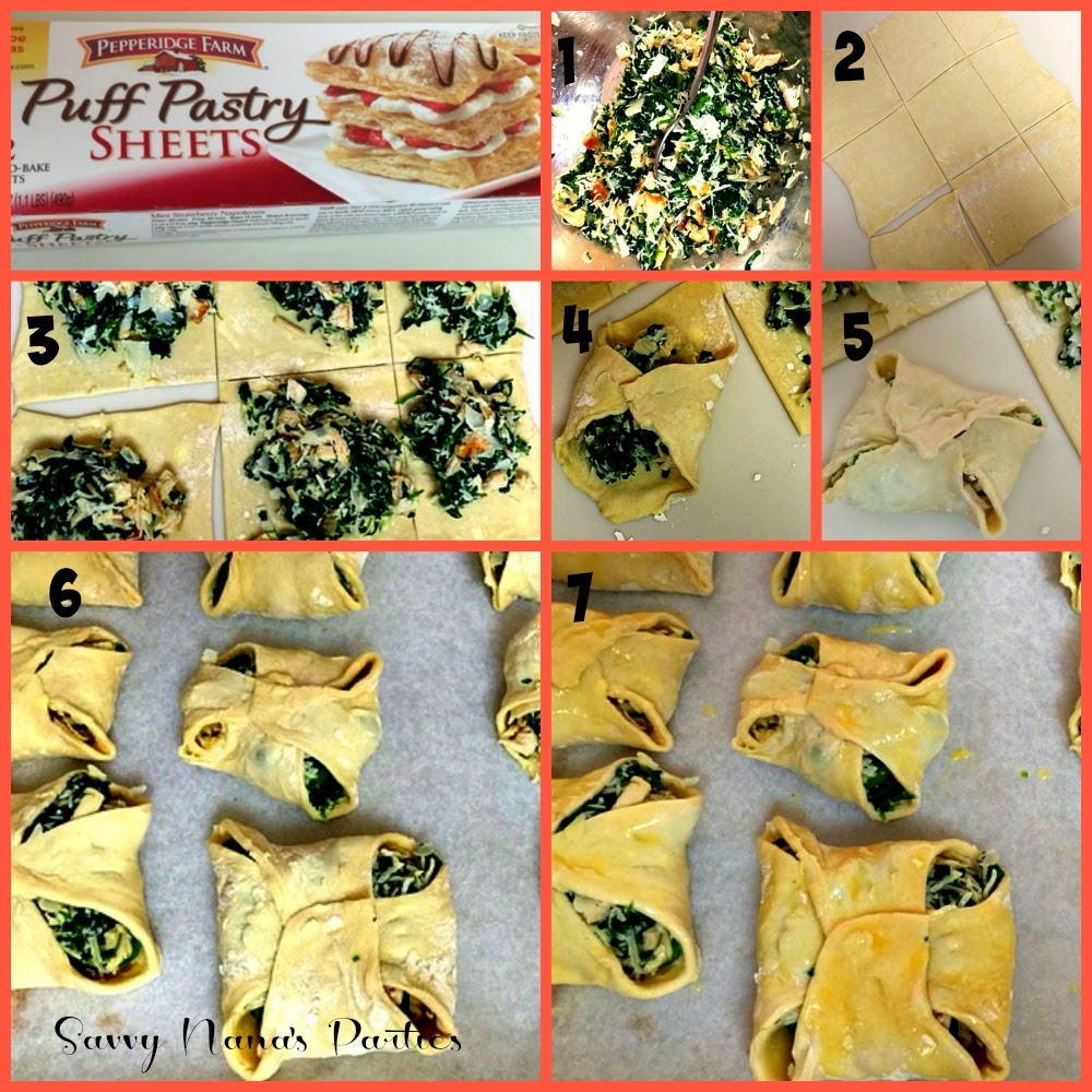 Chicken Spinach Puff Pastry Pies