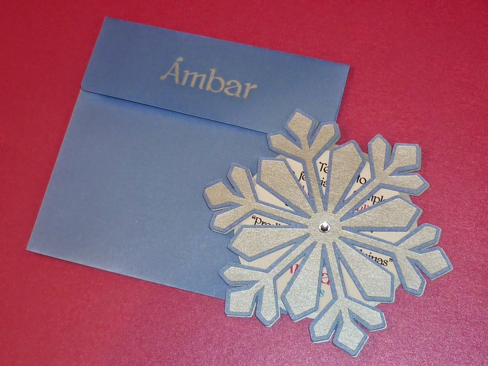 Minimandy. Invitación. Frozen. Elsa. Snowflake. Cristal. Papel. Sobres.