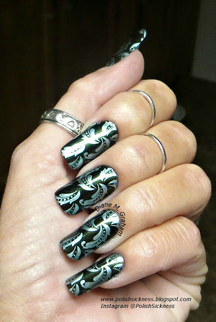 Salon Perfect Ivy League, China Glaze Metallic Muse, LeaLac LLC-B stamping plate