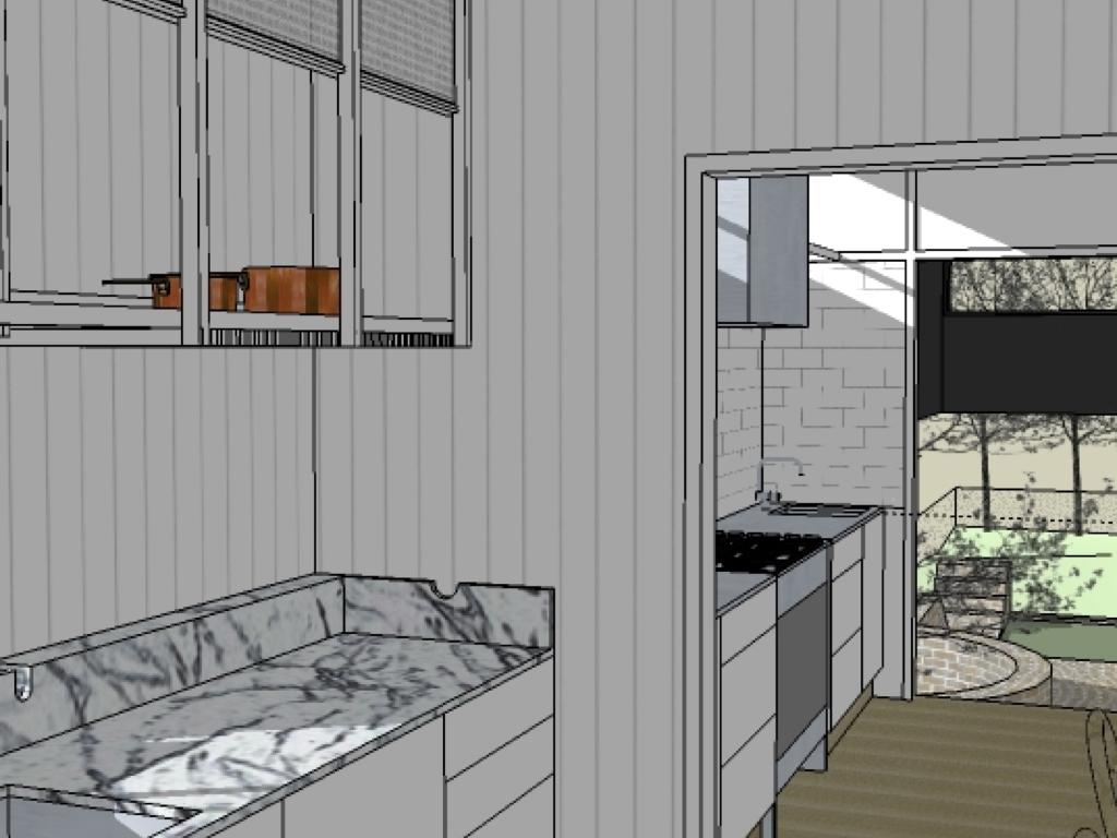 west end cottage kitchen plans and the idea of food flow. Black Bedroom Furniture Sets. Home Design Ideas
