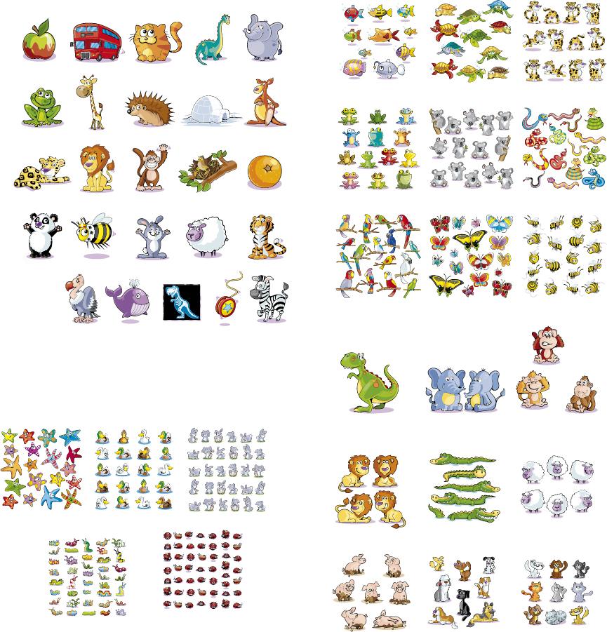 可愛い動物のアイコン集 cute little cartoon animals vector イラスト素材