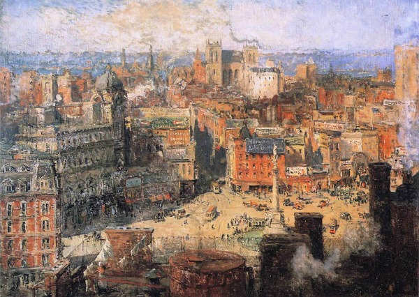 Colin Campbell Cooper - Columbus Circle, New York - Alentown Art Museum
