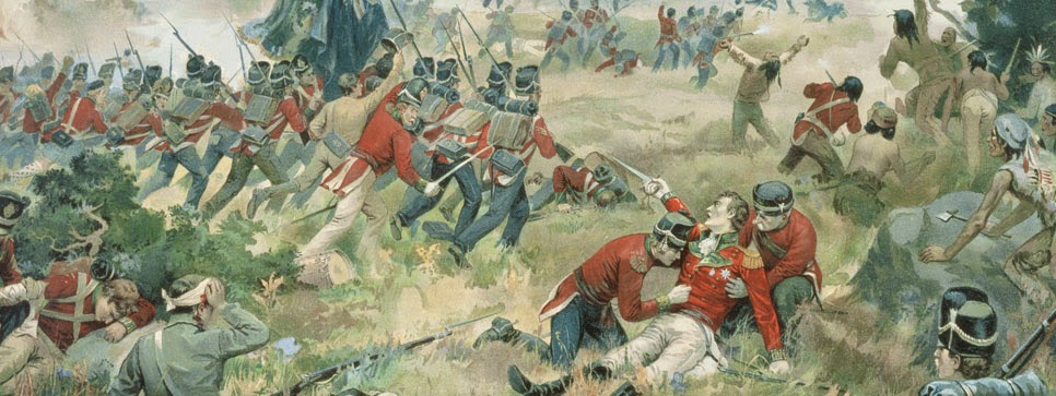 Colour painting of battle field scene, Sir Isaac Brock wounded with people around him trying to help, fighting surrounding.