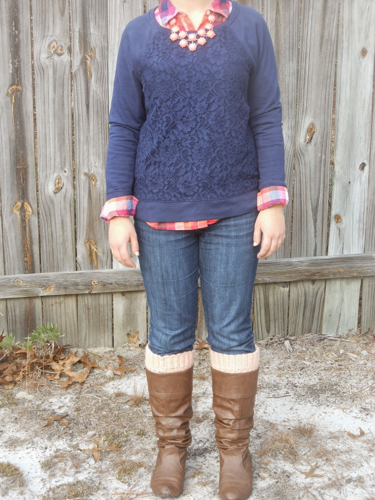 PMT Style Challenge: Copy an Outfit You Pinned. Plaid button down, lace sweater, jeans, riding boots, boot socks, statement necklace