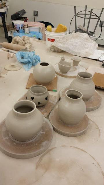 Wheel thrown ceramic / pottery pieces in progress.