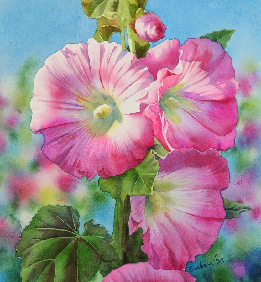 Barbara fox daily paintings pink hollyhocks watercolor for Watercolor painting flowers
