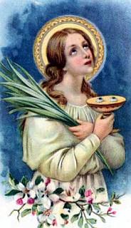 Santa Lucia con sus ojos en una bandeja