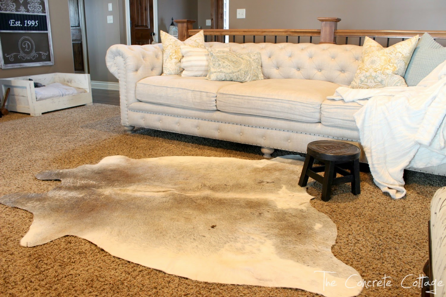 how to get a cowhide rug to lay flat