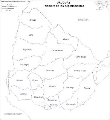 Mapa mudo de URUGUAY, nombre de los departamentos