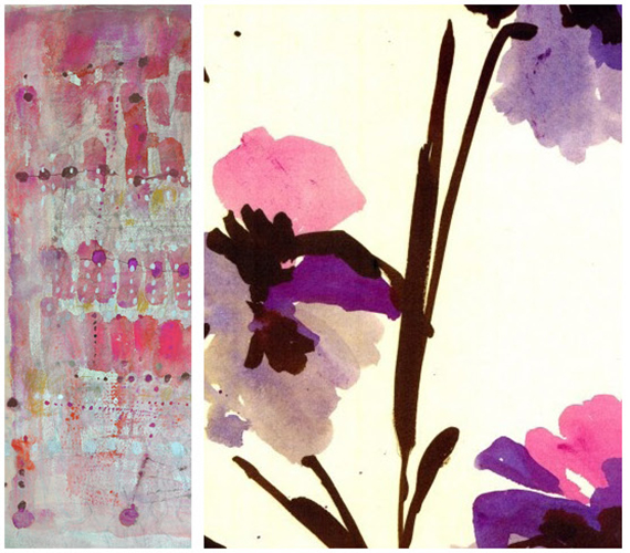 purple paintings by lari washburn and katherine sable