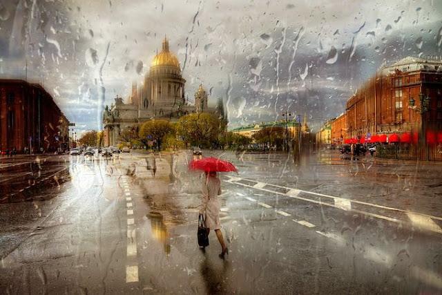 acrylic paintings of rainy cityscapes