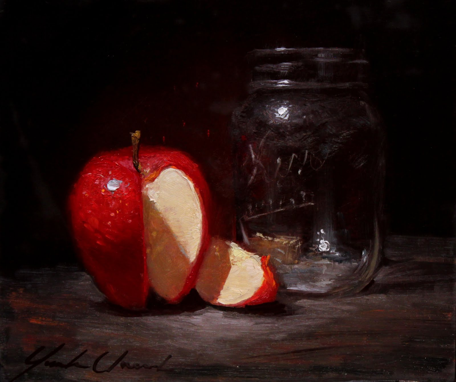 """Red apple and glass"""