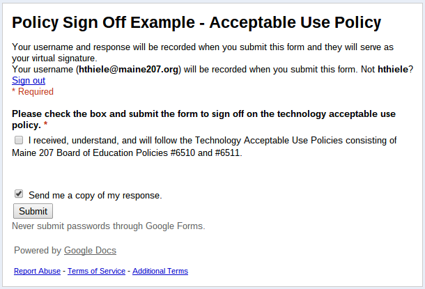 To Learn Twice Managing Sign Off Documents Using Google Forms and – Sign off Form