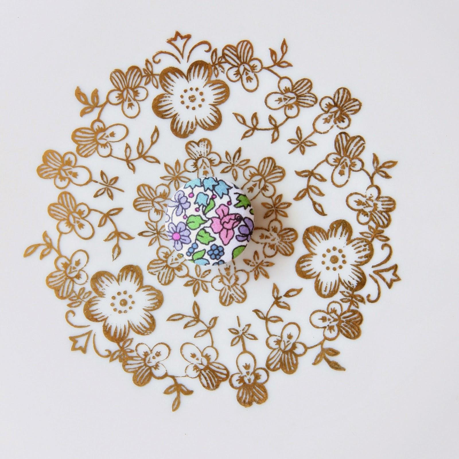 Liberty astor stofknapper - Emilias Flowers - 20mm - Fine pastelfarver