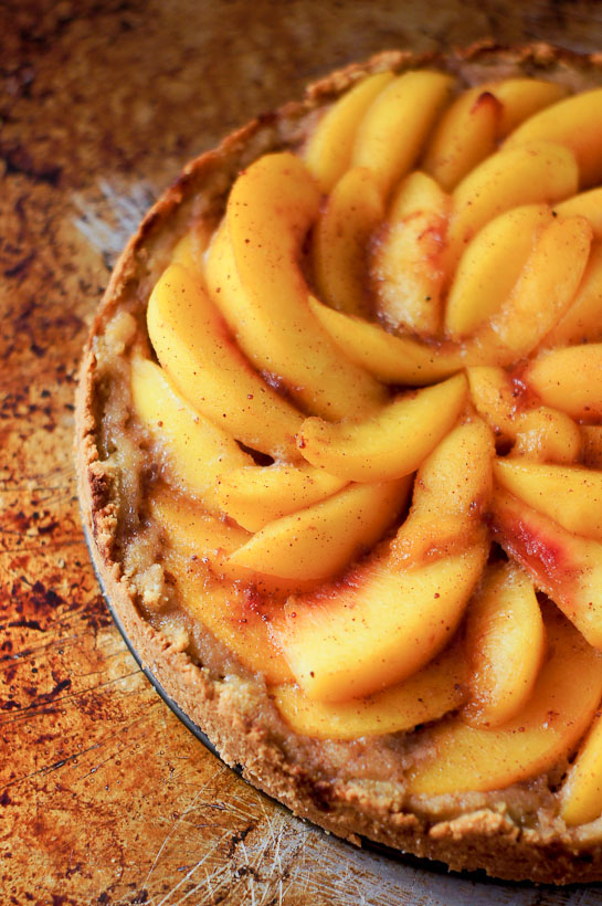 Grain Free Peach Tart | thumb in plum