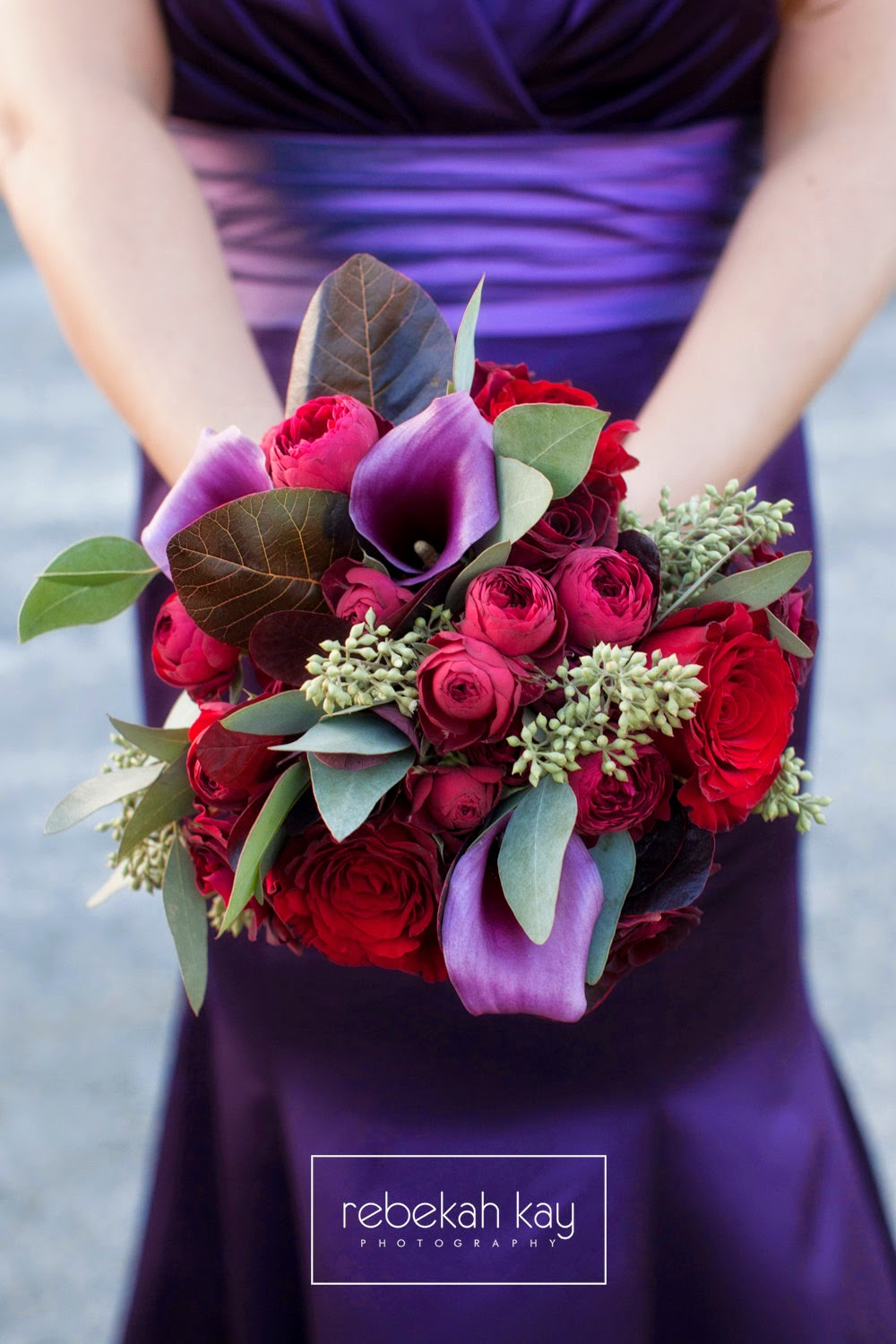 les fleurs : rebekah kay photography : granite links country club : purple bridesmaid dresses : purple and red : garden roses and calla lilies : red, burgundy, raspberry, purple