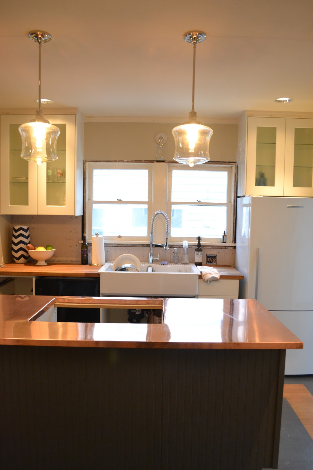 a home in the making renovate copper counters kitchen. Black Bedroom Furniture Sets. Home Design Ideas
