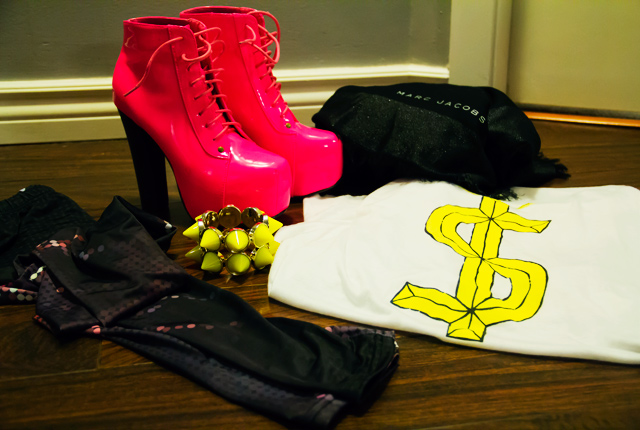 Neon pink lita style shoes, neon spikey bracelet, romwe lighting tights, unif dolla long sleeved tshirt, marc jacobs scarf