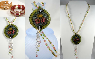 Pastel set: necklace & bracelet (polymer clay focal, vintage raisin beads, Czech glass, sterling silver wire and findings, wire crochet) :: All Pretty Things
