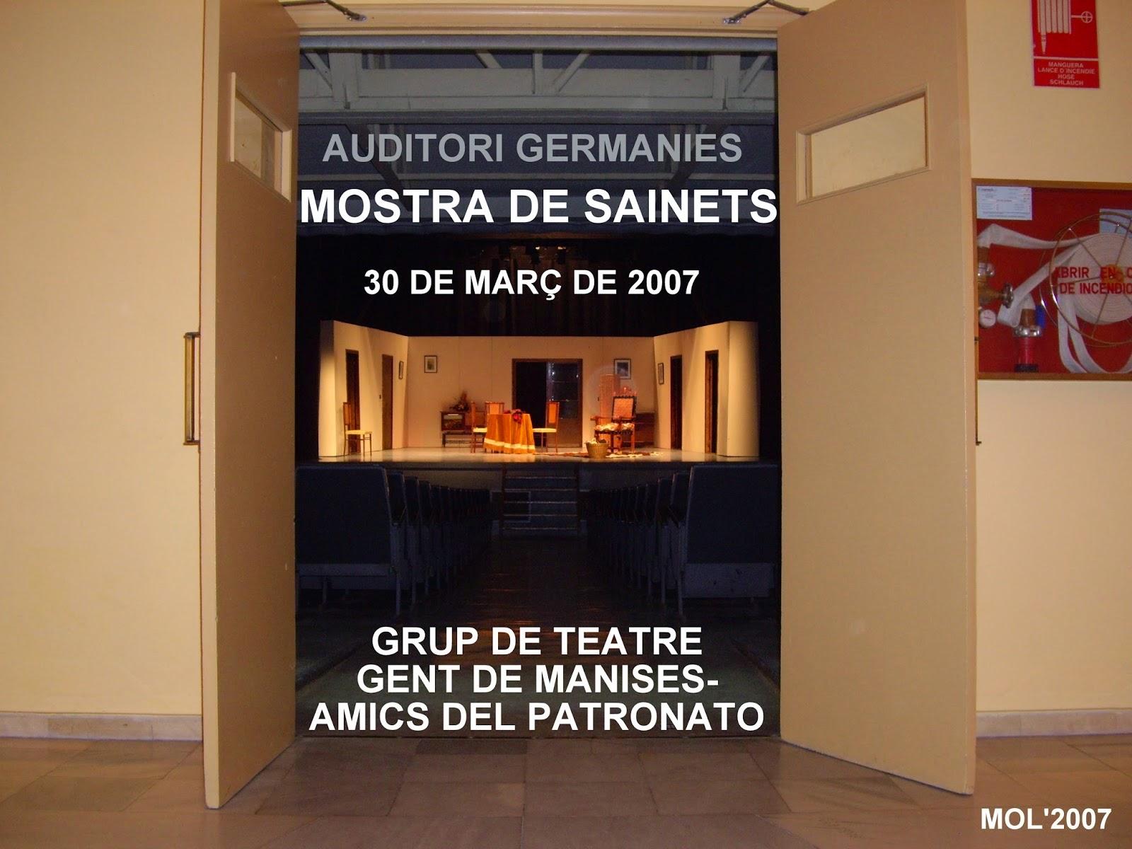 MOSTRA DE SAINETS DE MANISES EN LLENGUA VALENCIANA 2007
