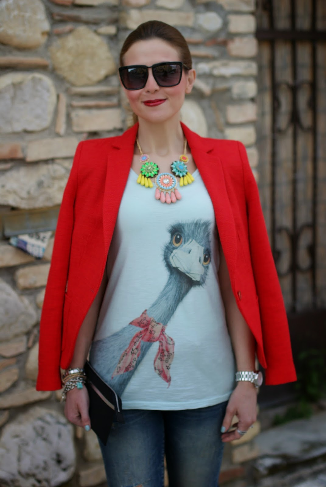 ostrich tee, sister & sister, zara blazer, Fashion and Cookies, fashion blogger