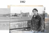 Neil Young 1982 an der Berliner Mauer