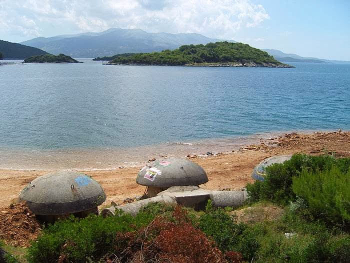Bunkers on the beach of Albania