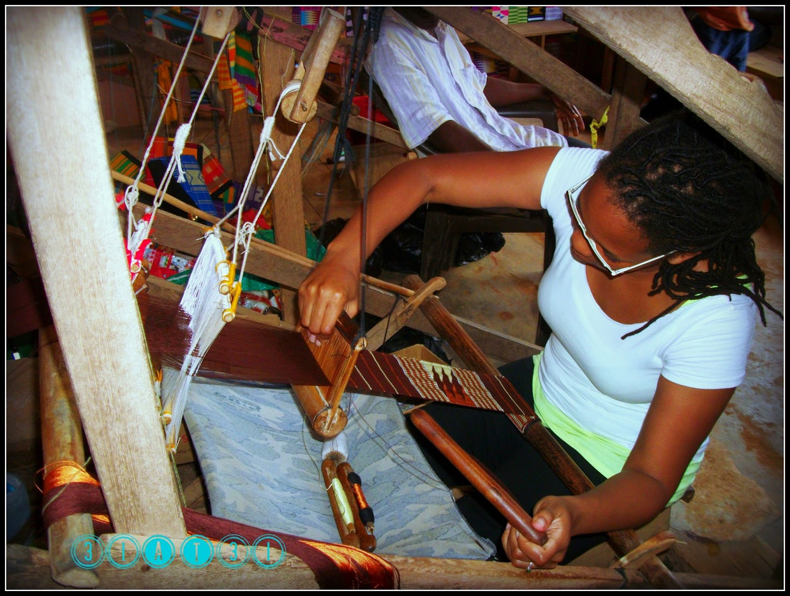 Jolyn Gardner, Artist learning the fine art of weaving Kenti Cloth while in Ghana, West Africa.