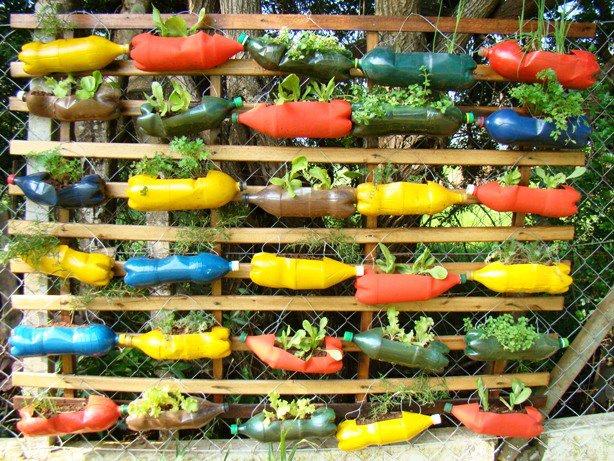 horta e jardim livro : horta e jardim livro:Jardim Vertical De Garrafas Pet