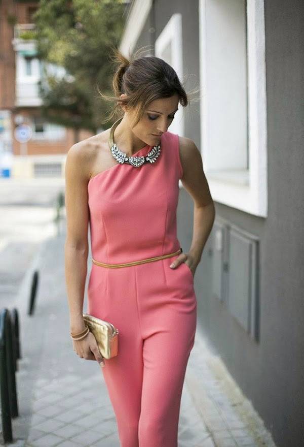 coral jumpsuit and statement necklace