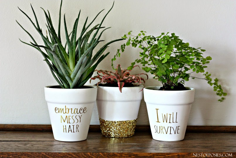Nest of Posies - gold foil lettered planters