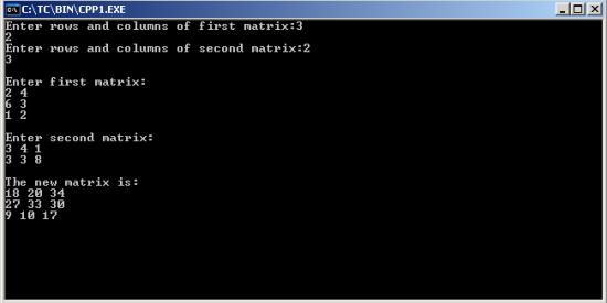 how to add matrices in c++