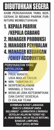 Bursa Kerja di Pabrik Furniture Lampung