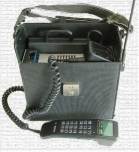 Future Of Cell Phone on portable bag with old phone