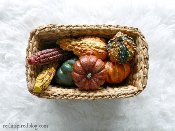 7 Easy Ways to Decorate for Fall-Gourds and Basket